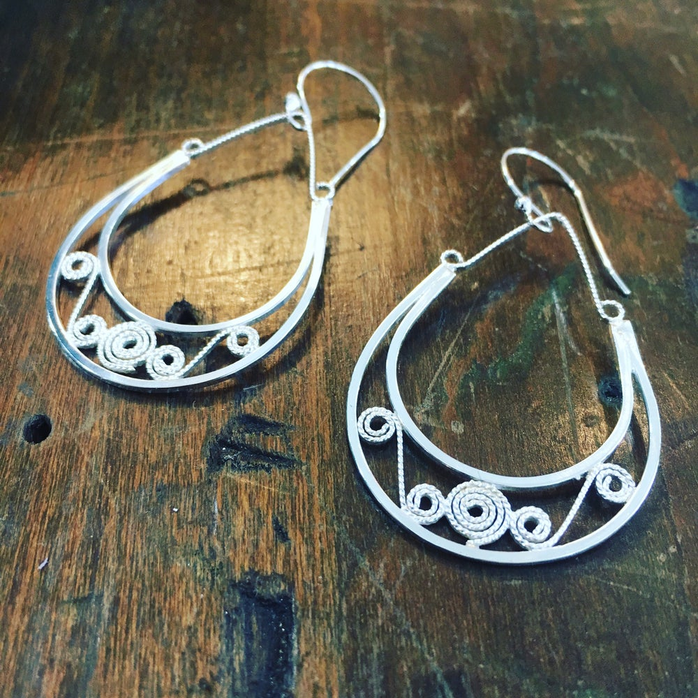 Image of Sterling Silver Filigree Hoop Earrings