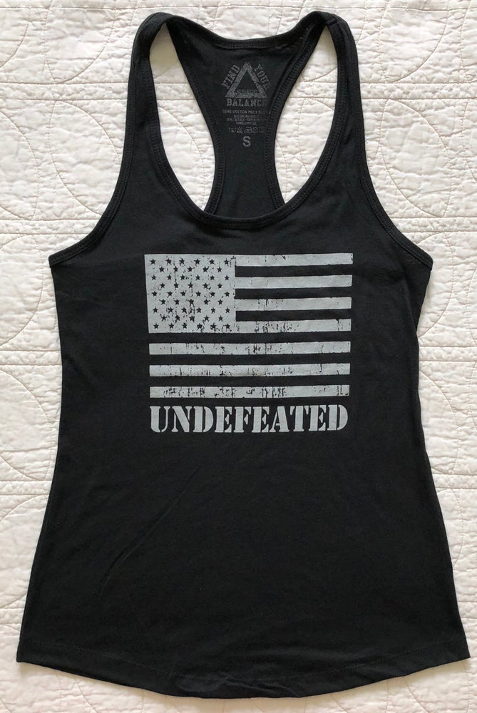 """Image of """"UNDEFEATED"""" WOMENS RACERBACK TANK - BLACK"""