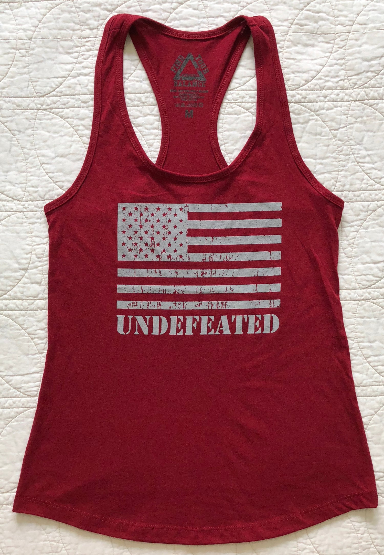 "Image of ""UNDEFEATED"" WOMENS RACERBACK TANK - SCARLET RED"