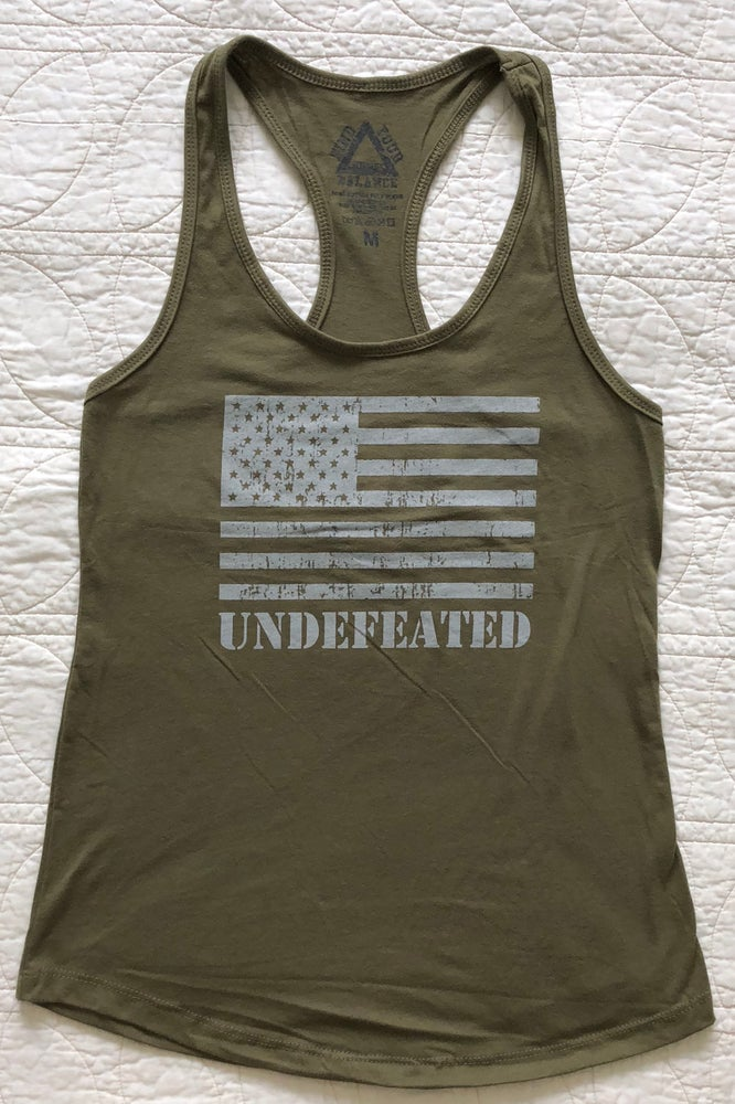 """Image of """"UNDEFEATED"""" WOMENS RACERBACK TANK - MILITARY GREEN"""