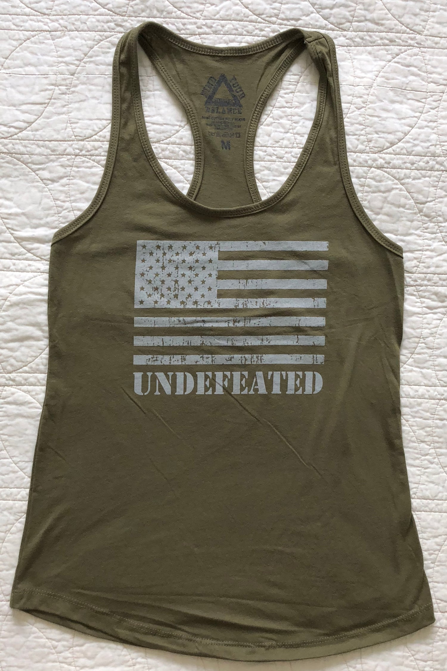 "Image of ""UNDEFEATED"" WOMENS RACERBACK TANK - MILITARY GREEN"