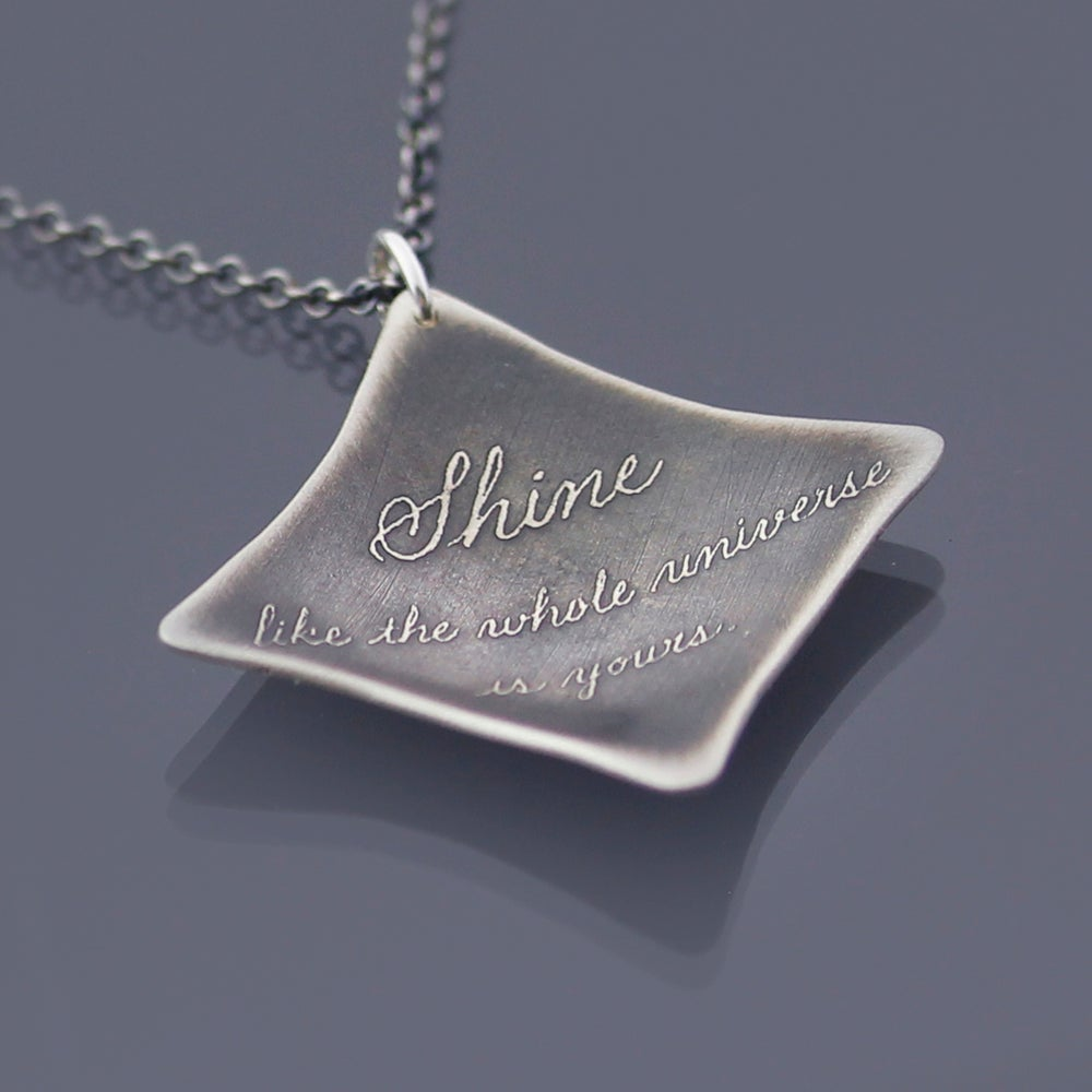 Image of Sterling Silver Rumi Shine Quote Necklace