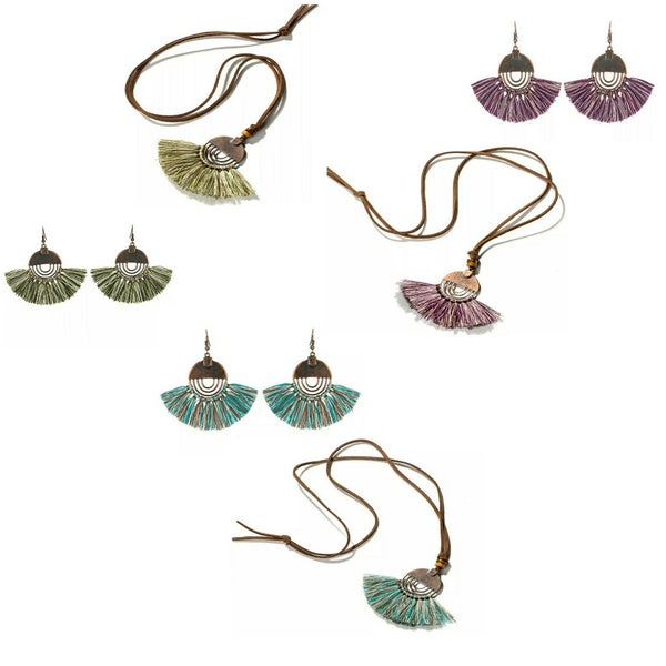 Image of Circle Metal and Fringe Earring & Necklace set