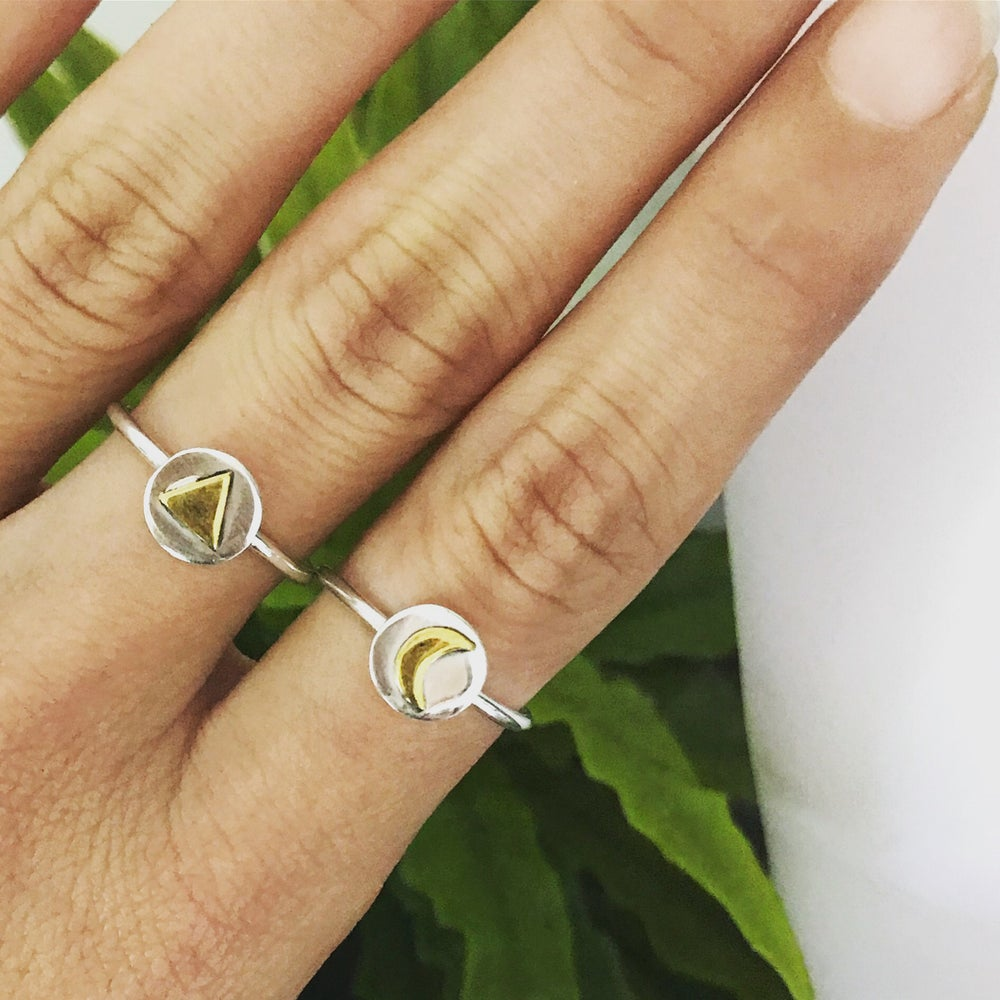 Image of Sterling silver 2 tone moon & triangle rings