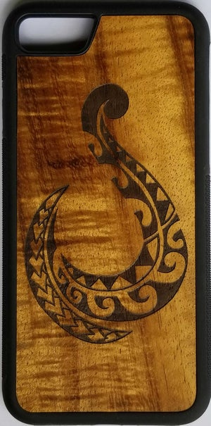 Image of Tribal fish hook wood phone case
