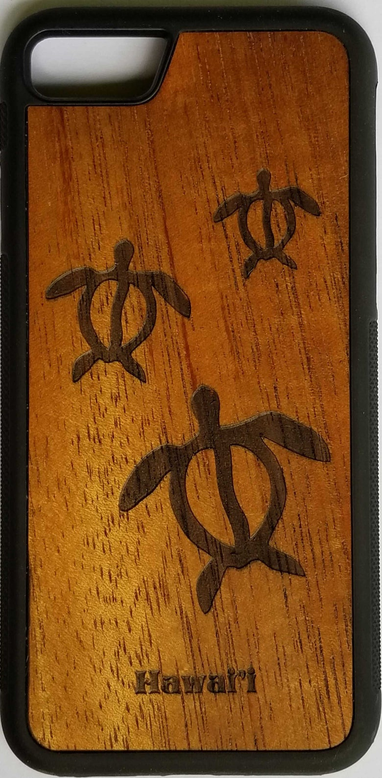 Image of Honu (sea turtle) glyph Koa wood phone case