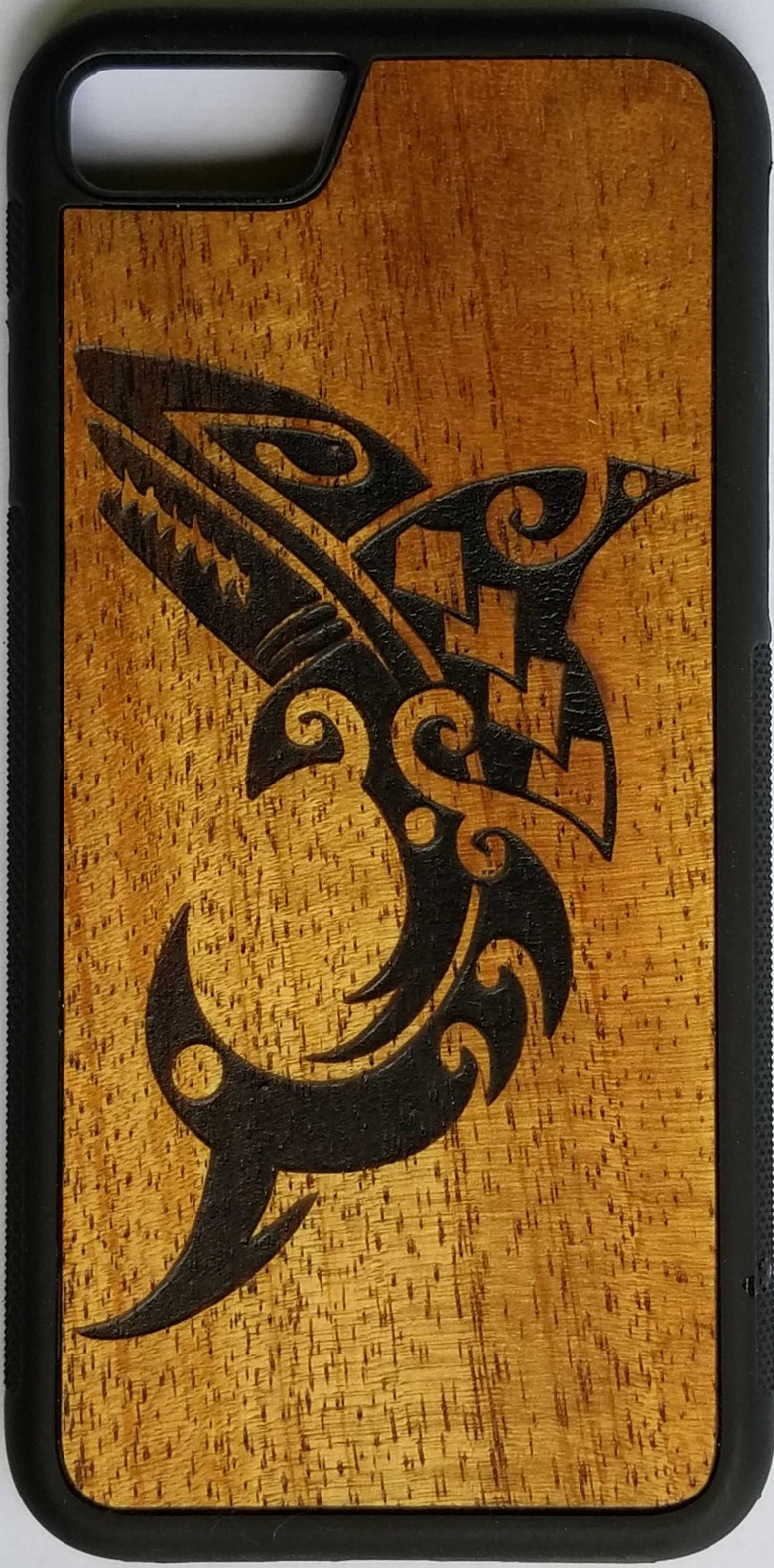 Image of Tribal shark koa wood phone case