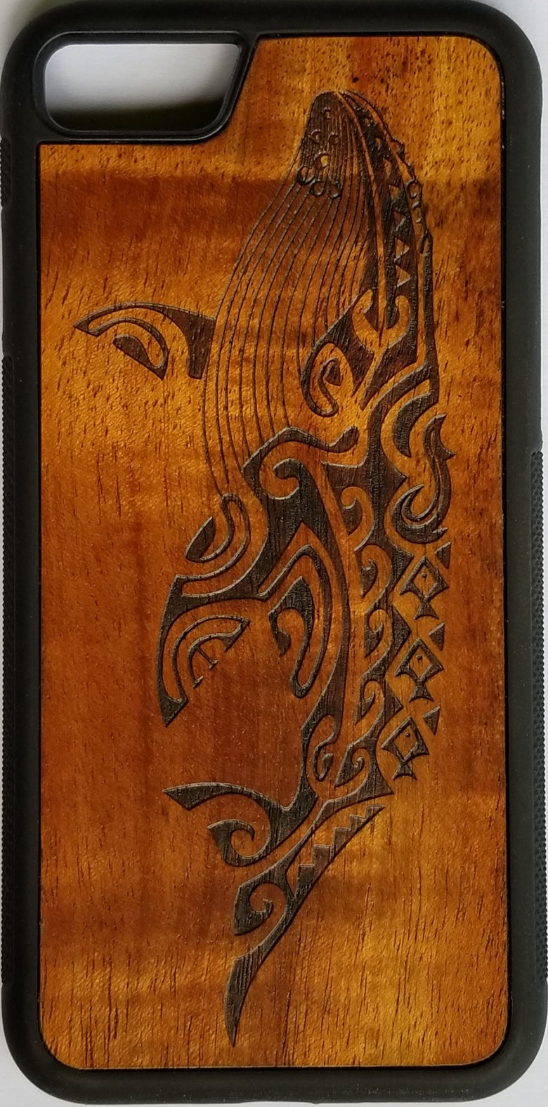 Image of Tribal whale Koa wood phone case