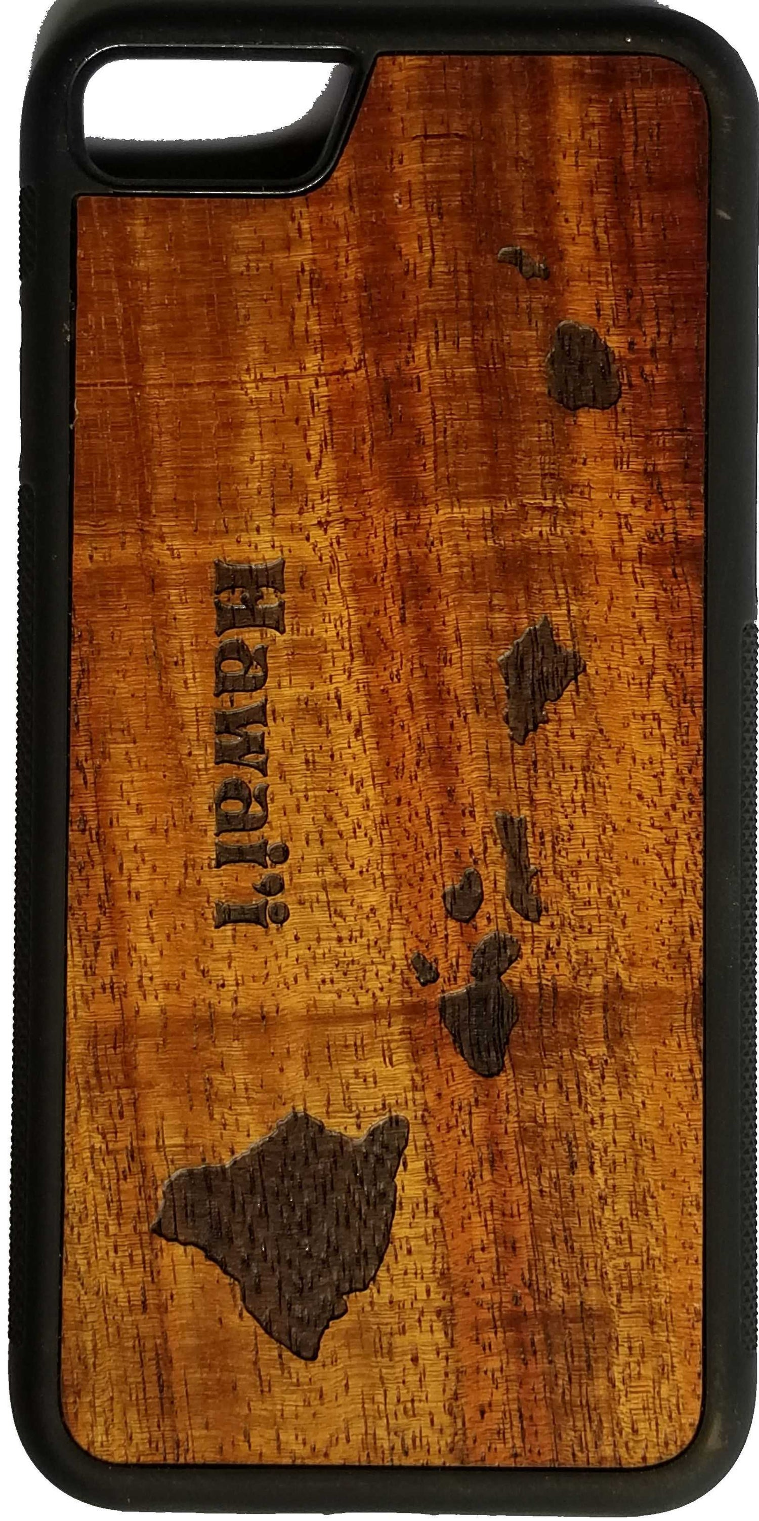 Image of Hawaiian island chain Koa wood phone case