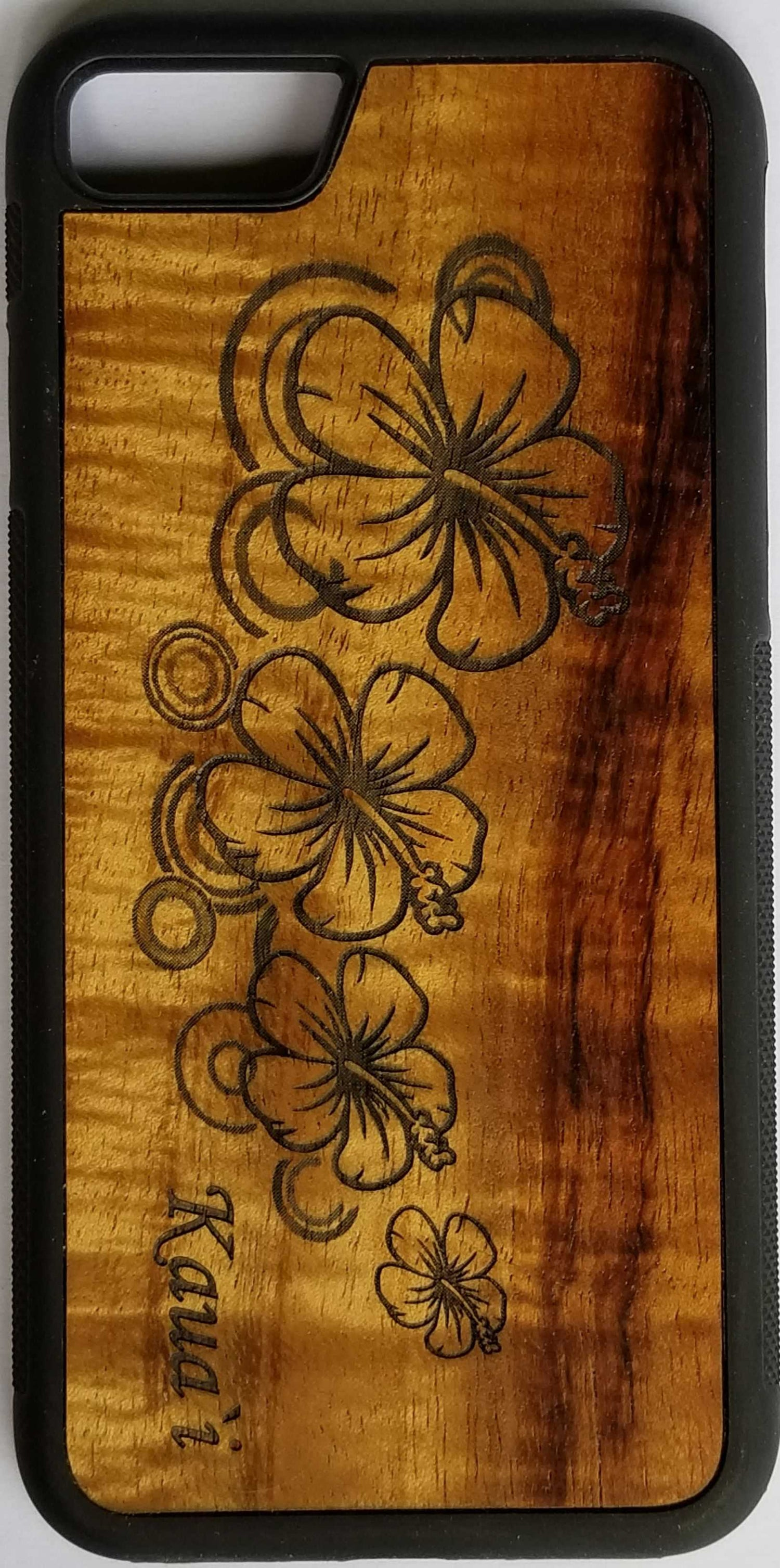 Image of Hibiscus Koa wood phone case