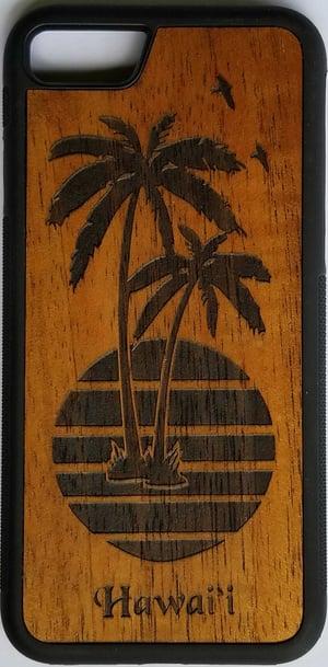 Image of Palms with Sun Koa wood phone case