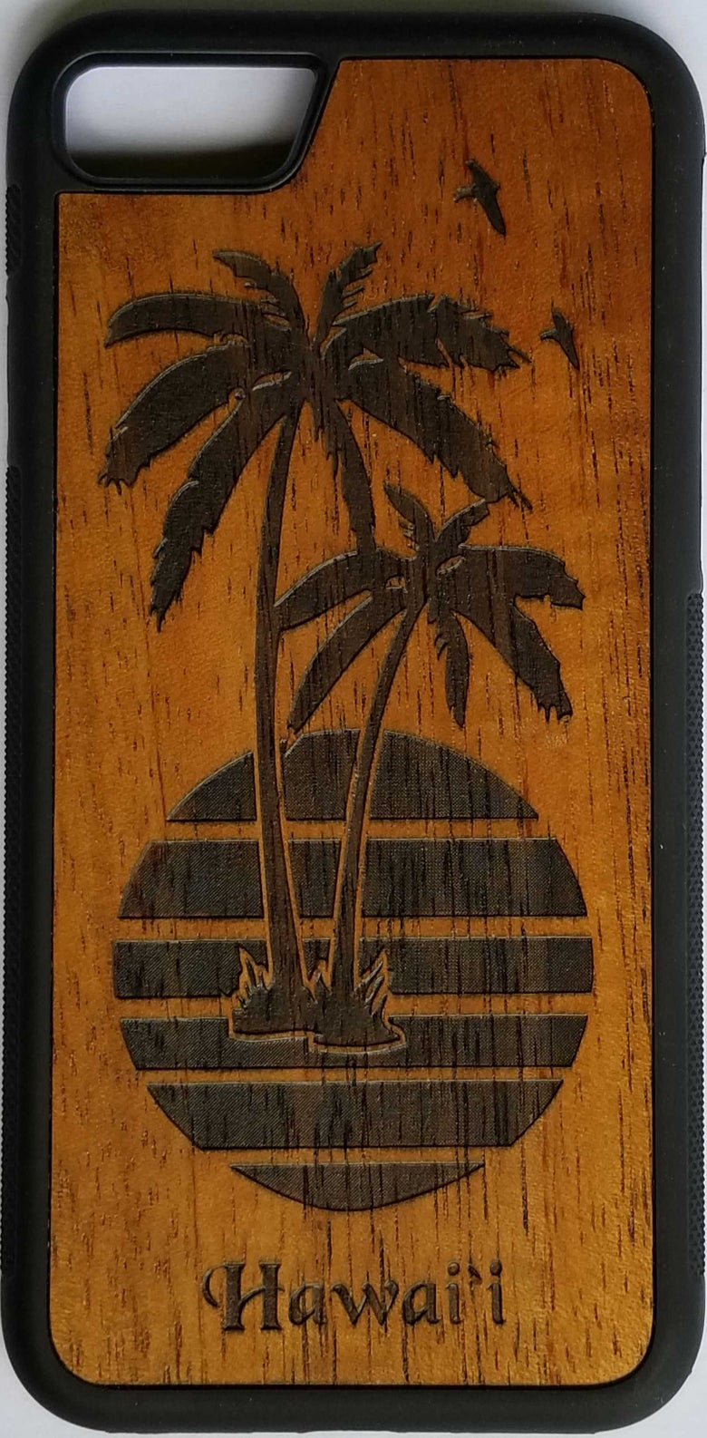 Image of Palms with Sun Koa wood phone case