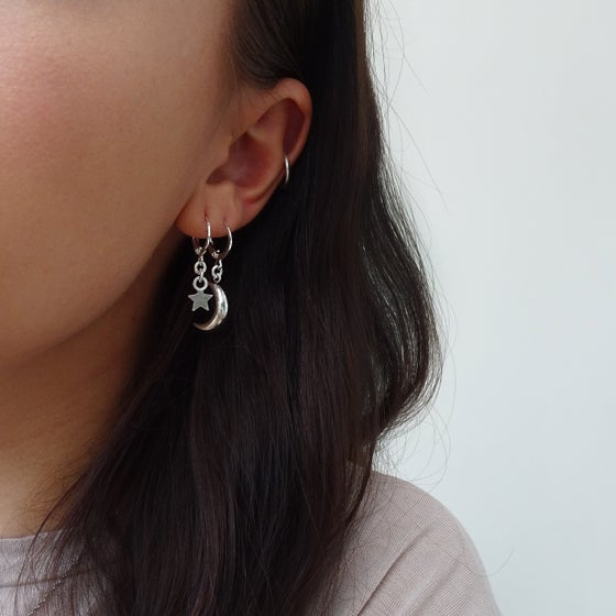 Image of Moon or Star Hoop Earrings