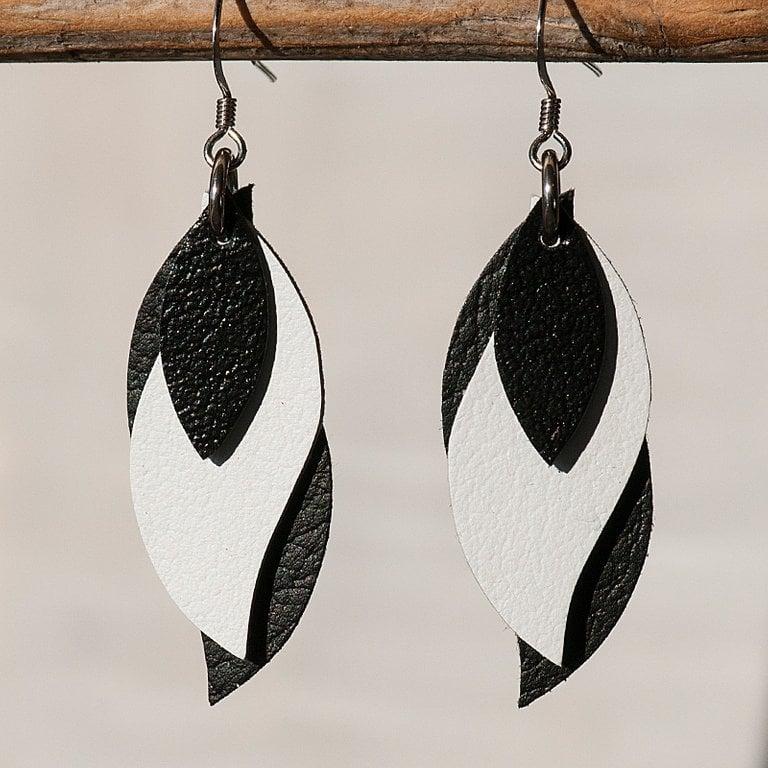 Image of Handmade Kangaroo leather leaf earrings - black, white, black [LBW-104]