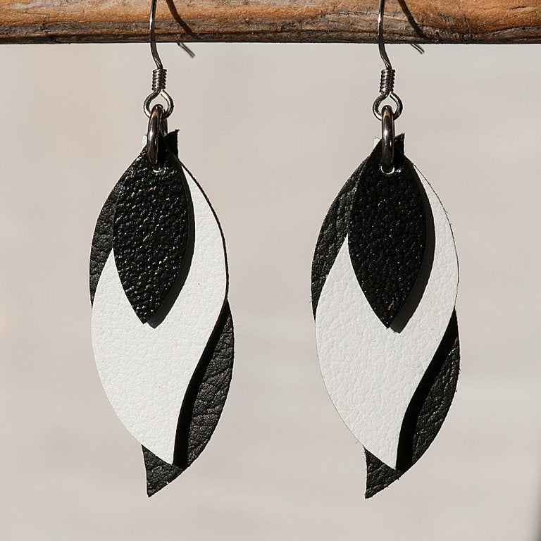 Image of Handmade Kangaroo leather leaf earrings - black, white, black [LBW-104]