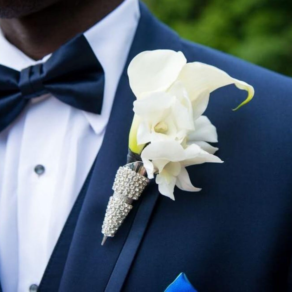"""Michael"" Bling Boutonniere Holder (Available in other colors)"