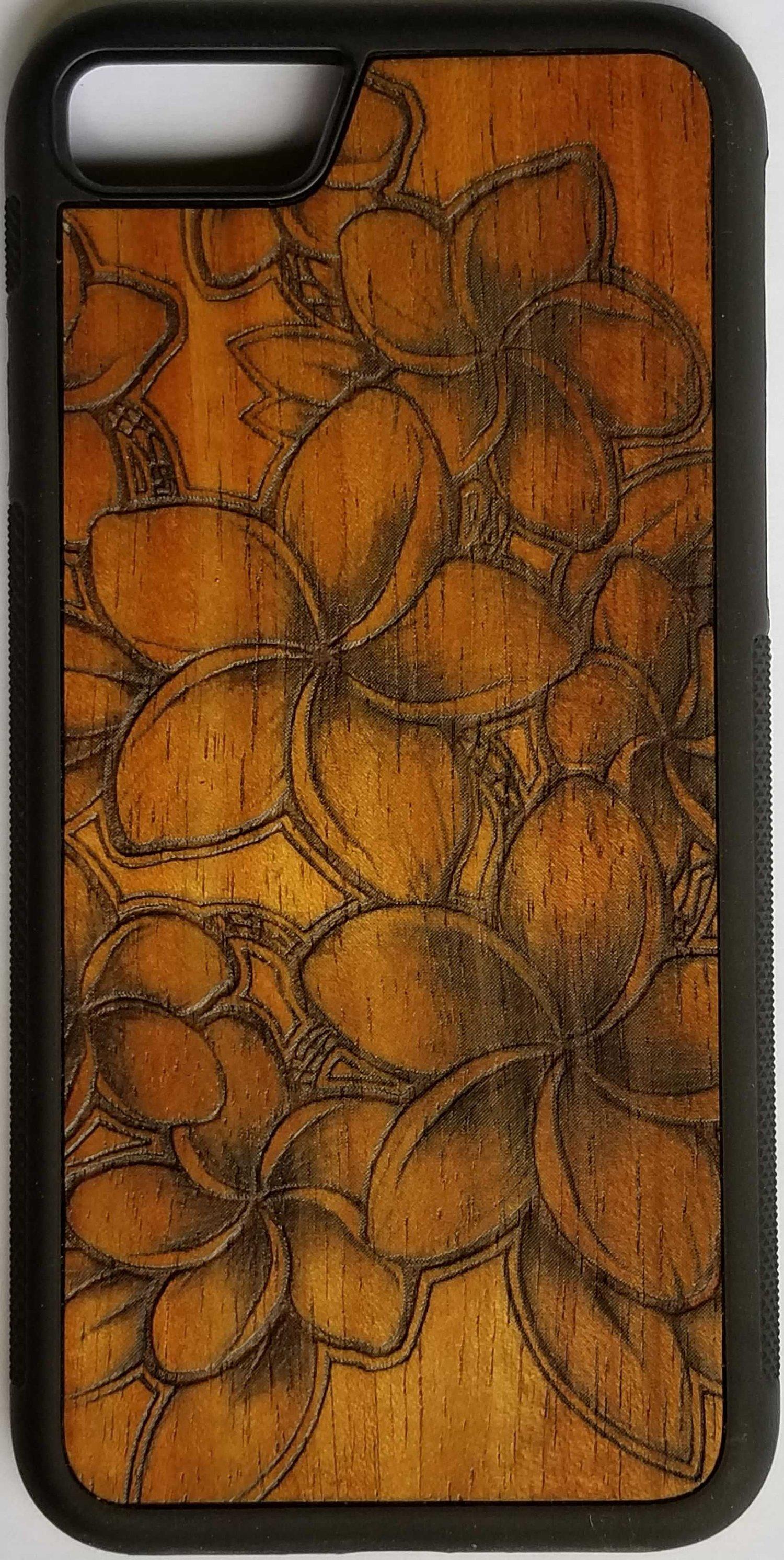 Image of Plumeria Koa wood phone case