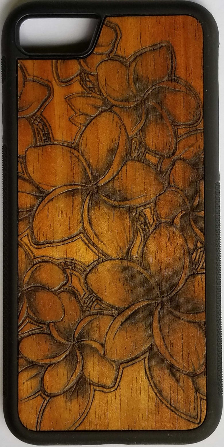 Image of Plumeria Koa wood phone case