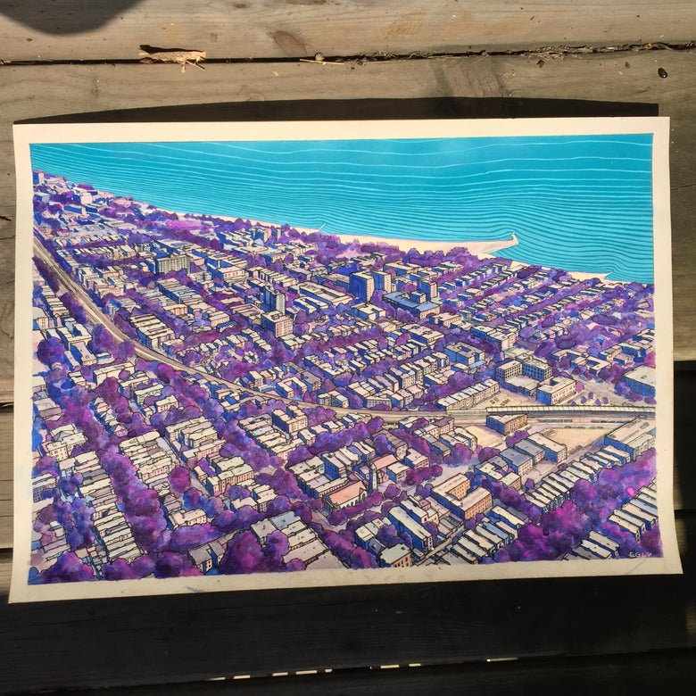 Image of Rogers Park -Illustration in Guache & Ink