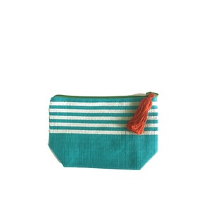 Image of Small Tassel Bag Turquoise/White