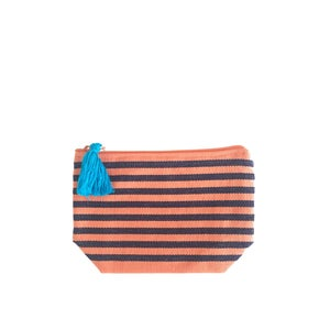 Image of Small Tassel Bag Melon/Navy Blue