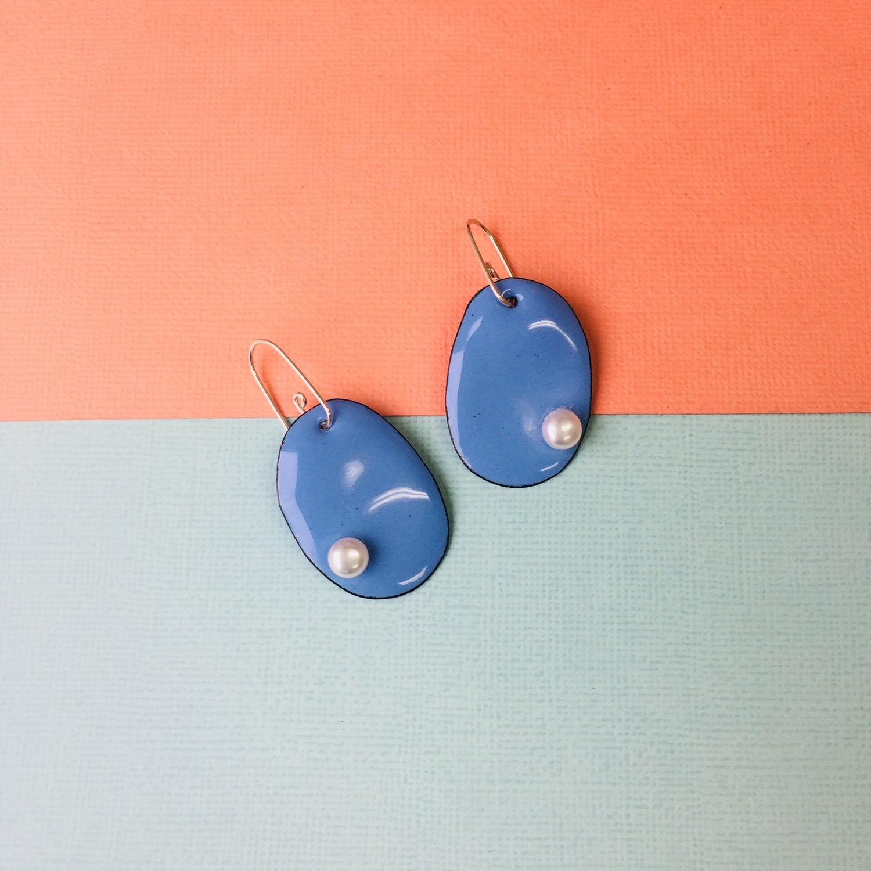Image of Handmade enamelled pearlie earrings with freshwater pearls - small