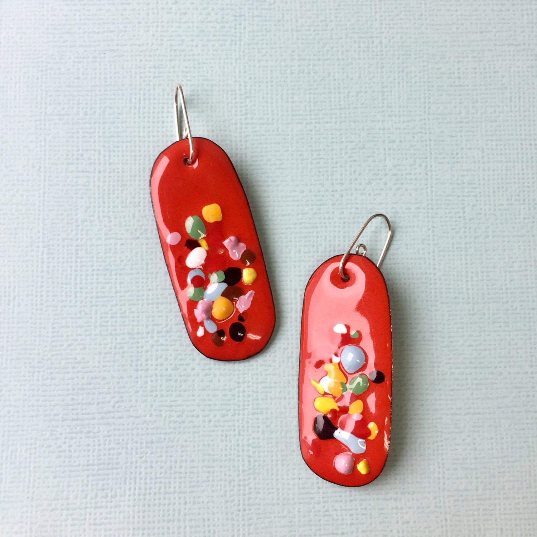 Image of Handmade enameled Piñata earring