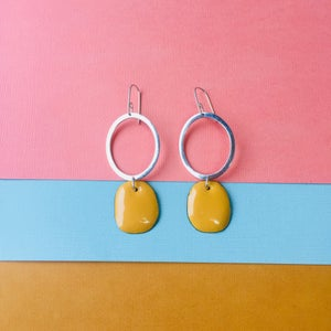 Image of Sterling silver hoop earrings with karma yellow enamel drops