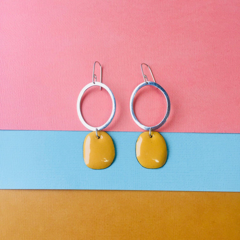 Image of Sterling silver hoop earrings with karma yellow enamel drops