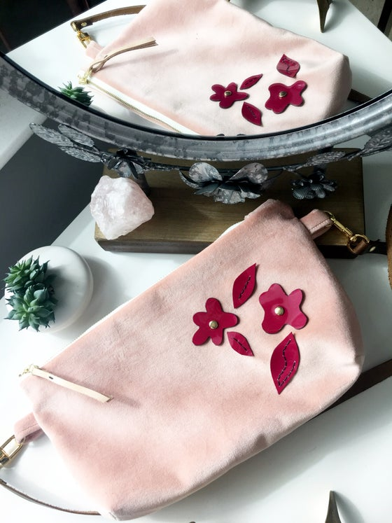 "Image of ""The Penny"" Exclusive Soft Pink Velvet Cross-Body with Magenta Leather Floral"