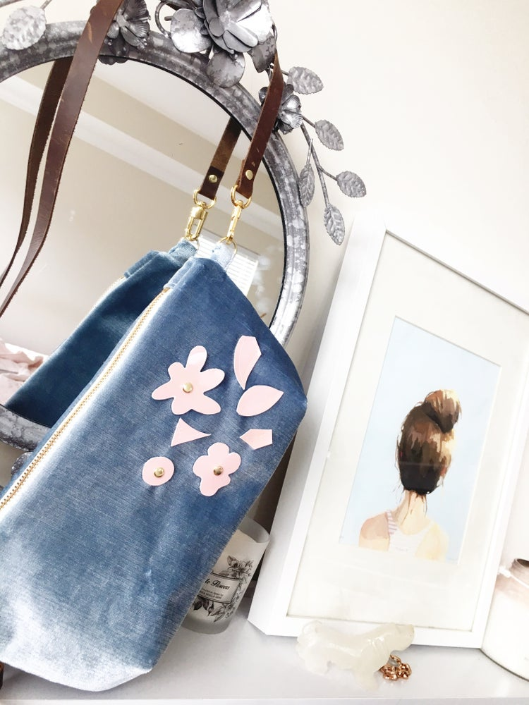 "Image of ""The Amber"" Exclusive Baby Blue Velvet Cross-Body with Pink Leather Floral"
