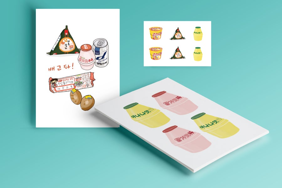 Image of Lot CARTES POSTALES Food & Banana Milk + 1 planche de Stickers