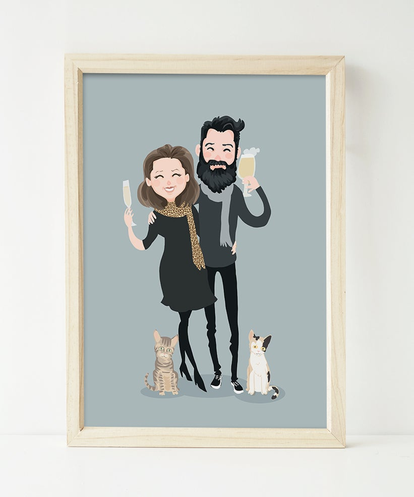 Image of Couple portrait with two cats