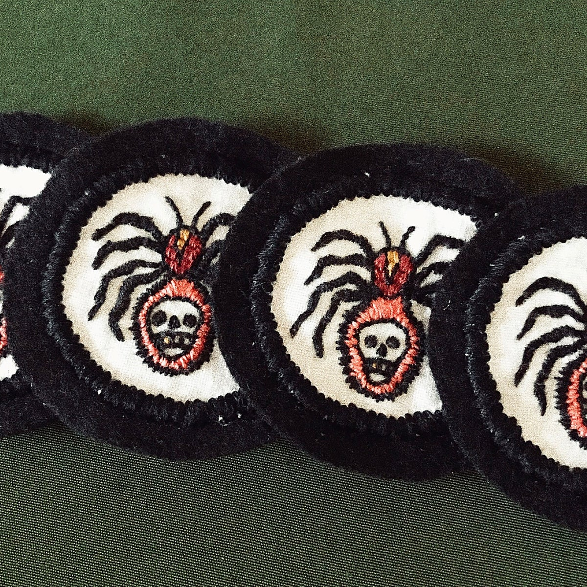 Image of HAND EMBROIDERED SPIDER PATCH.