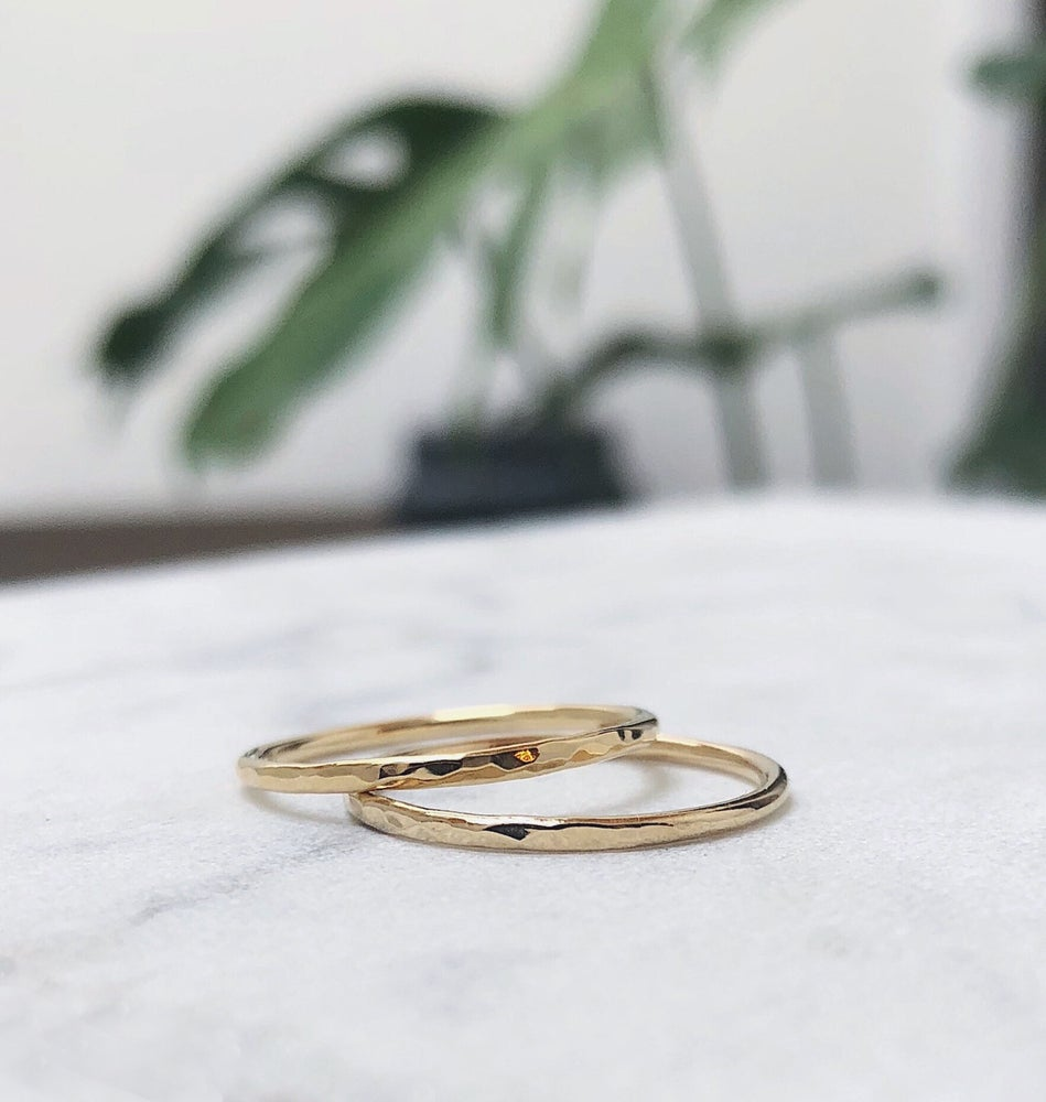 Image of 14k gold stacking ring / hammer textured / 100% recycled gold
