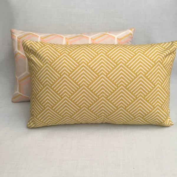 Image of Art Deco Arrows Mustard Cushion