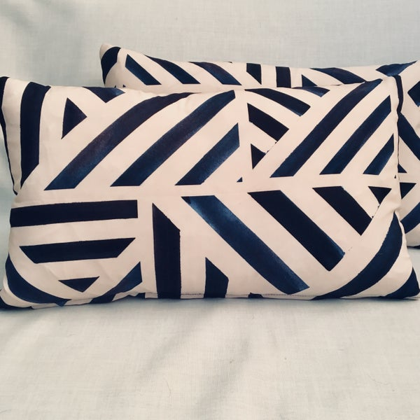 Image of Midnight Stripe Rectangle Cushion