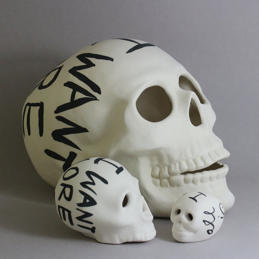Image of All I Want is More Time Skull (small, medium or large)