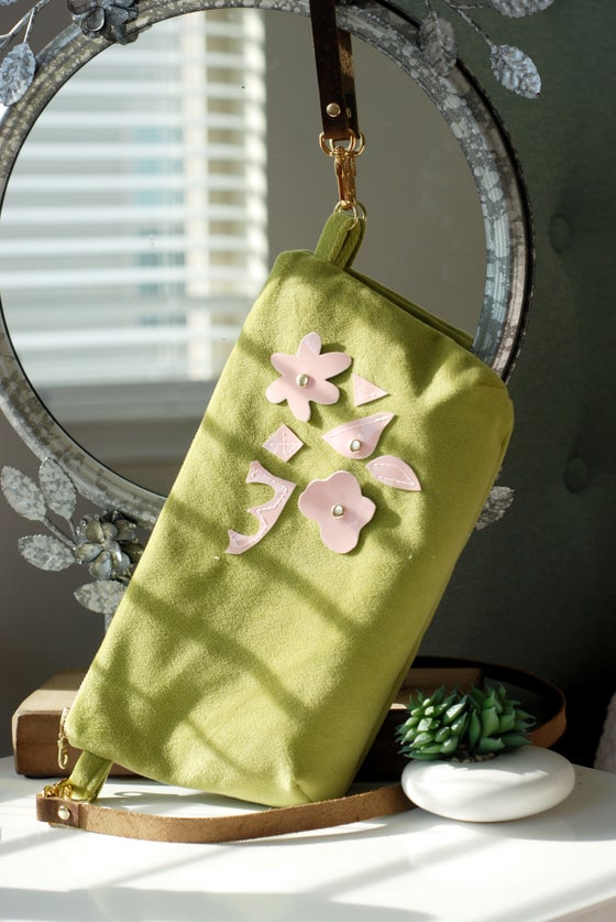 "Image of ""The Holly"" Exclusive Chartreuse Velvet Cross-Body with Pink Leather Floral"