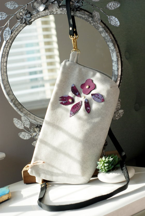 "Image of ""The Lily"" Exclusive Soft Grey Velvet Cross-Body with Aubergine Leather Floral"