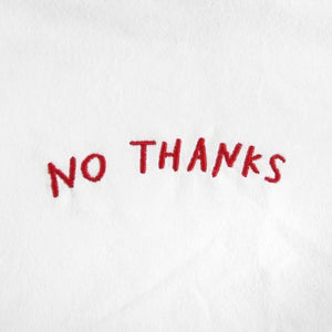 Image of NO THANKS Embroidered T-Shirt (White)