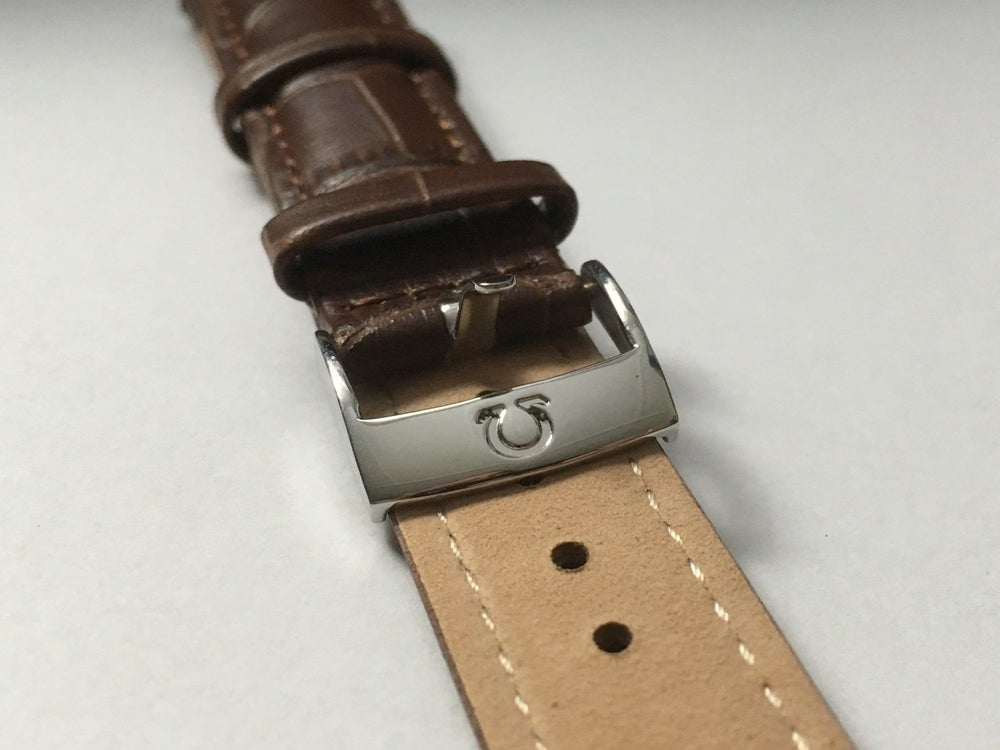 Image of OMEGA,GENUINE PADDED LEATHER GENTS WATCH STRAPS,18MM,20MM,BROWN.(EL)