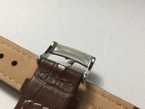 Image of OMEGA,GENUINE PADDED LEATHER GENTS WATCH STRAPS,18MM,20MM,BROWN.(SHS)