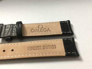 Image of OMEGA,GENUINE PADDED LEATHER GENTS WATCH STRAPS,18MM,20MM,BLACK.(EL)