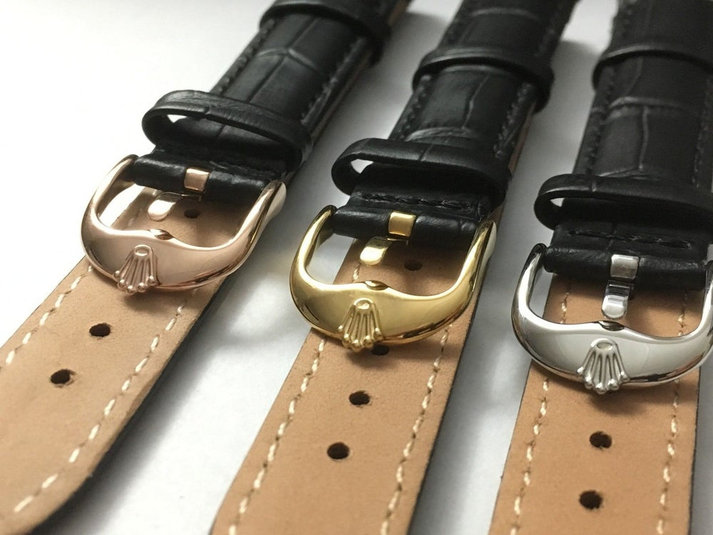 Image of GENUINE LEATHER GENTS WATCH STRAPS FOR ROLEX,18MM,20MM,BLACK,3 X COLOR BUCKLES-V
