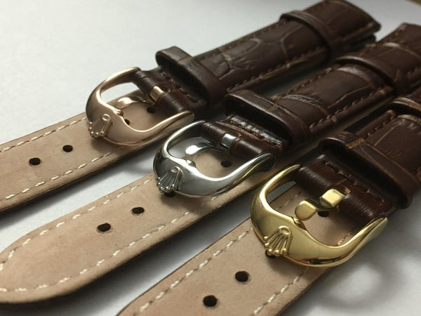 Image of GENUINE LEATHER GENTS WATCH STRAPS FOR ROLEX,18MM,20MM,BROWN,3 X COLOR BUCKLES-V