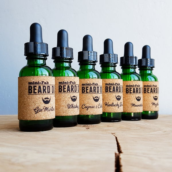 Image of Beard Oil - 6-Pack of Alcohol Scents - 6 oz. Glass Apothecary Bottle with Dropper and Cork Label