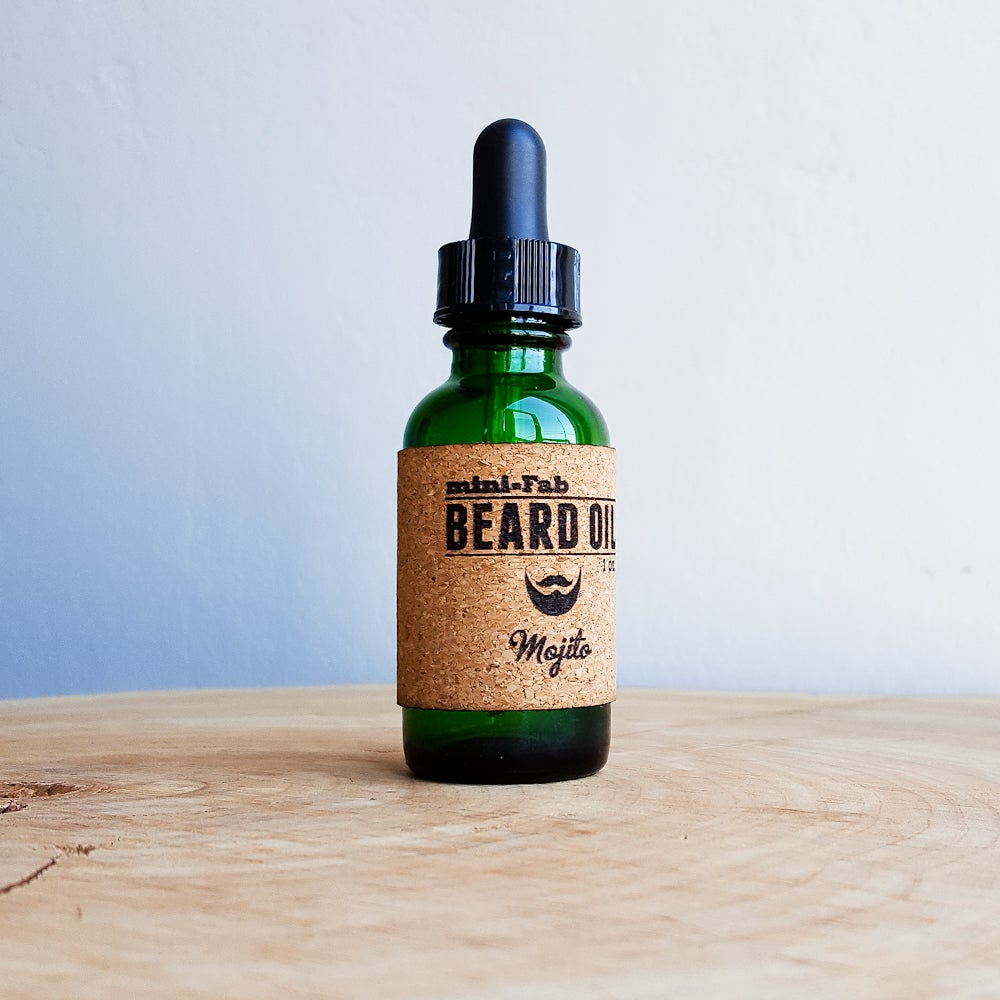 Image of Beard Oil - Mojito Scent - 1 oz. Glass Apothecary Bottle with Dropper and Cork Label