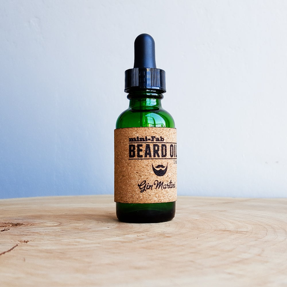 Image of Beard Oil - Gin Martini Scent - 1 oz. Glass Apothecary Bottle with Dropper and Cork Label