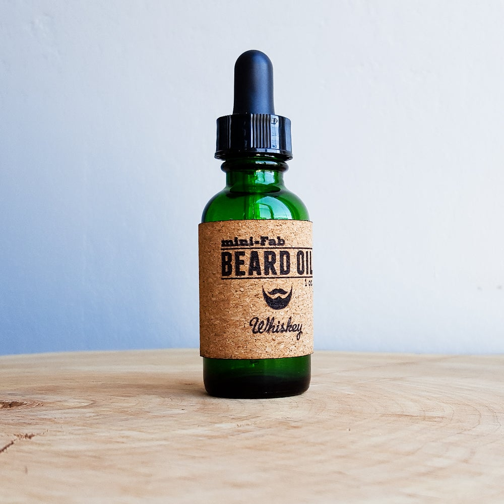 Image of Beard Oil - Whiskey Scent - 1 oz. Glass Apothecary Bottle with Dropper and Cork Label
